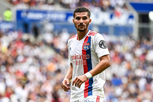Houssem AOUAR of Lyon during the French Ligue 1 Uber Eats soccer match between Lyon and Clermont at Groupama Stadium on August 22, 2021 in Lyon, France. (Photo by Baptiste Fernandez/Icon Sport via Getty Images)