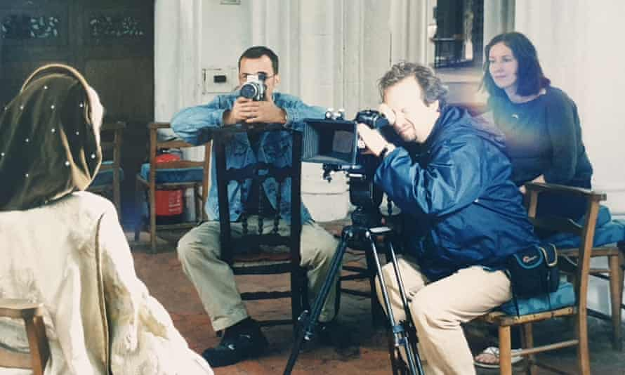 Martina Hall, right, during a shoot for A History of Britain at Thaxted church, Essex