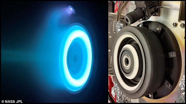 The photo on the left captures an operating electric Hall thruster identical to those that will propel NASA's Psyche spacecraft, which is set to launch in August 2022 and travel to the main asteroid belt between Mars and Jupiter