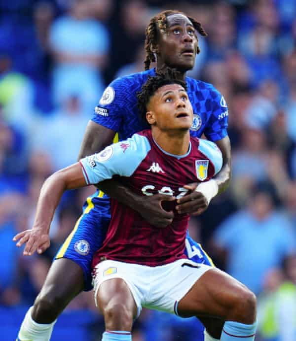 Ollie Watkins finds it hard to escape Trevoh Chalobah at Chelsea last weekend.