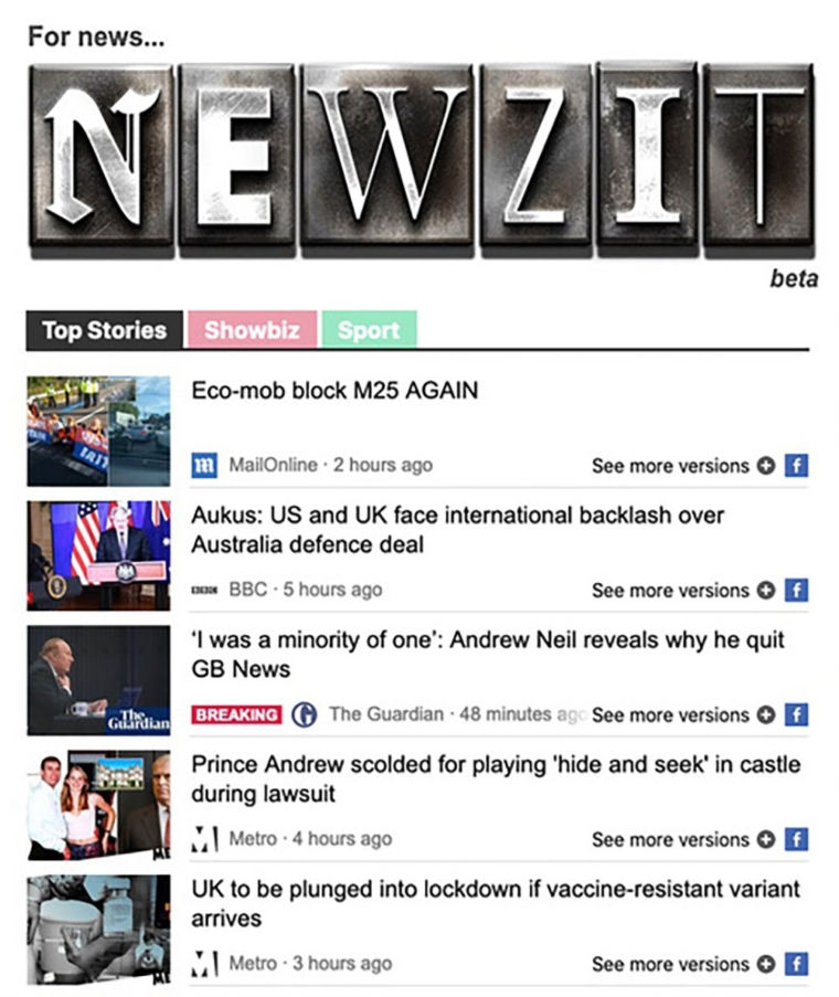 Newzit logo and a screen grab image of the site (Photo: DMG Media)