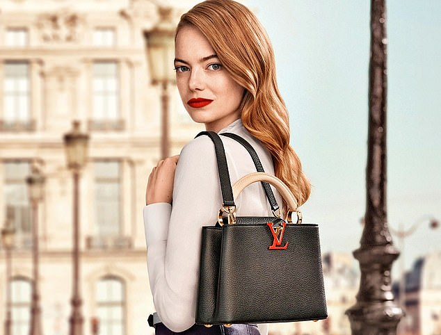 The owner of Louis Vuitton (where actress Emma Stone – pictured – is a brand ambassador) said demand for its luxury goods from China has remained high