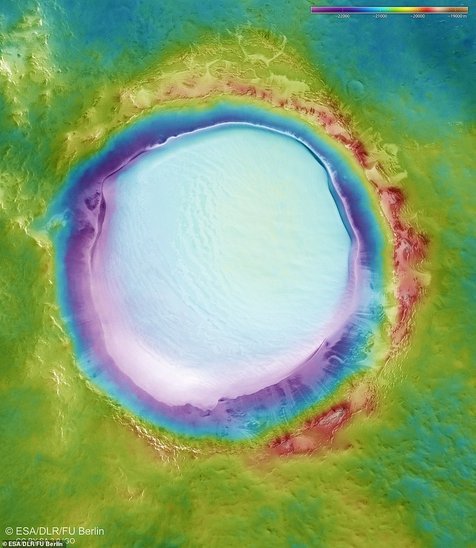 Colour-coded topographical image map of the Korolev Crater: The image strips acquired from different angles by the HRSC camera system on board Mars Express are used to generate digital terrain models of the Martian surface, containing height information for each recorded pixel. The colour coding of the digital terrain model (top right) indicates the elevation differences effectively: the topographical profile of the region covers approximately 3500 metres of elevation.