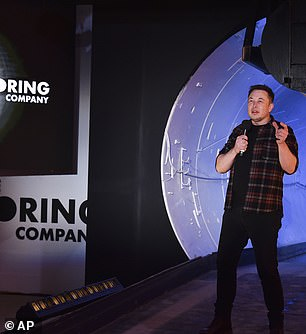 """Musk described his first ride as 'epic,' and 'as a eureka moment,' adding 'I was like, """"This thing is going to damn well work.""""' The mile-long tunnel is a prototype for Boring Company's 'loop'"""
