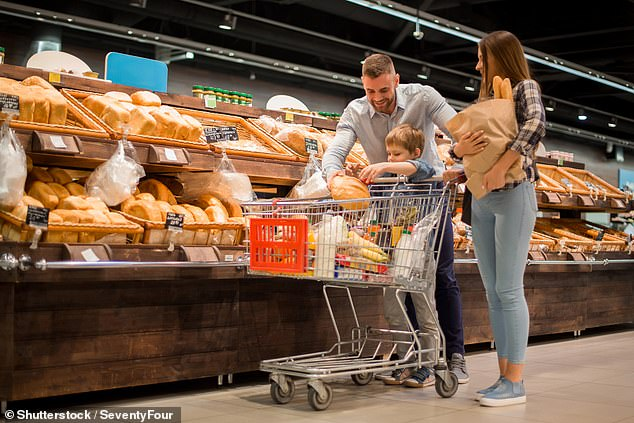 Shrinking chocolate bars, cereal boxes and loaves of bread (file image) have contributed to a rise in 'shrinkflation' in Britain - but it is not due to Brexit, new figures show today