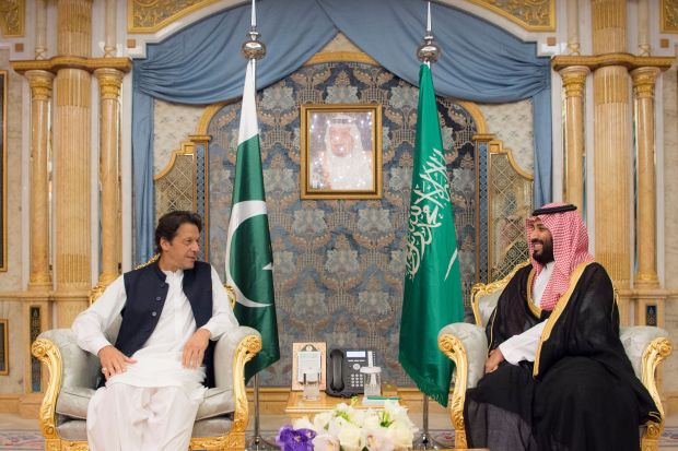 Loan and investment pledges from Saudi Arabia have helped Pakistan Prime Minister Imran Khan, at left at a meeting with Prince Mohammed in Jeddah in September. The two are set to meet again in Pakistan.