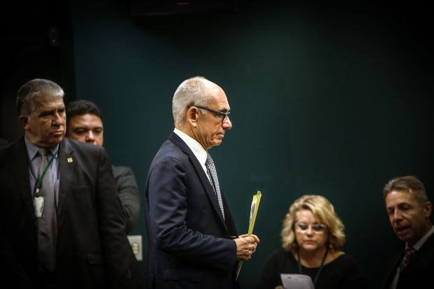 Fabio Schvartsman, chief executive officer of Vale SA, arrives for a Feb. 14 public hearing on the dam burst in Brasilia, Brazil.