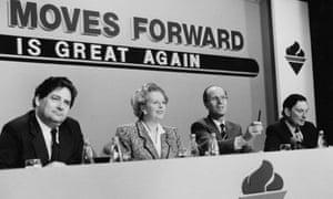 Margaret Thatcher with Nigel Lawson, left