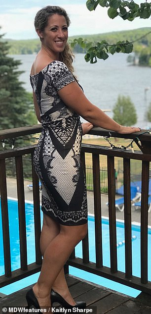 Pictured at a wedding in Huntsville, Canada, in July last year, Mrs Sharpe claims her energy levels have 'jumped up' since the procedures