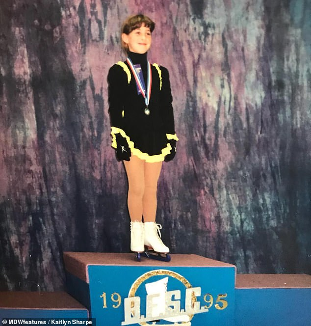 Mrs Sharpe is pictured as a child at an ice skating competition in Ontario in 1995. The sport caused her to build up strength in her legs, which masked the extent of her hip damage