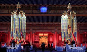"Replicas of ""Longevity"" lanterns are seen in front of the Qianqing Palace in the Forbidden City in Beijing, China, this month."