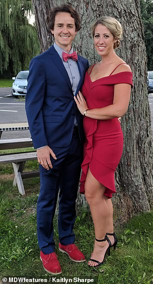 Kaitlyn Sharpe (pictured with her husband) required a double hip replacement at just 29 years old after people dismissed her limp as her trying to have swag