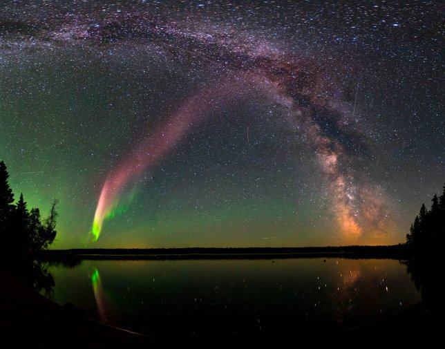 The Aurora Named STEVE STEVE (Strong Thermal Emission Velocity Enhancement) and the Milky Way at Childs Lake, Manitoba, Canada. The picture is a composite of 11 images stitched together. Image Courtesy Krista Trinder