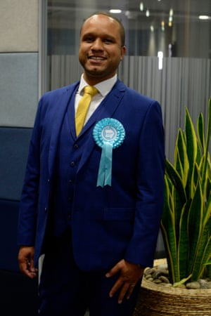 Louis Stedman-Bryce, Brexit Party lead candidate for the Scottish Region in the European election, in Edinburgh City Chambers, where the Scottish results are being collated following the close of polls across Europe, on May 26, 2019 in Edinburgh, Scotland.