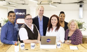 Prince William, Duke of Cambridge, meets crisis volunteers working with Shout.