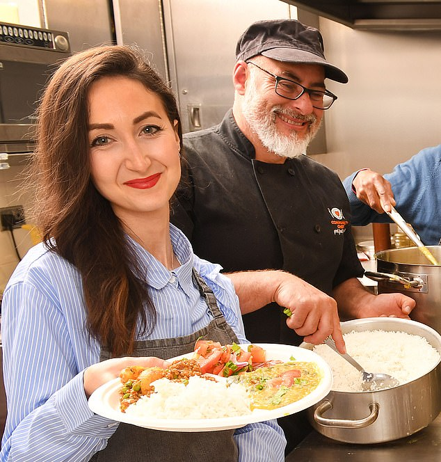 Norman joined Man In A Pan upon the recommendation of his doctor, to help him learn cook. Founder Robin Van Creveld (pictured with reporter Eve Simmons) specialises in community cooking projects, and believes that the benefits of his classes span far beyond the kitchen