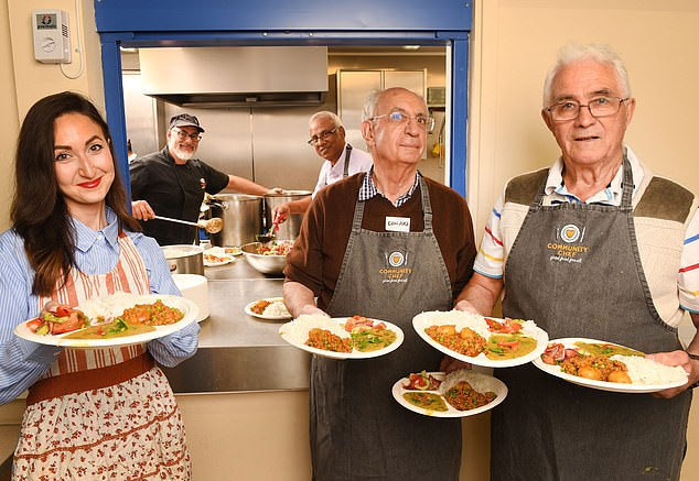Norman is not the only person to attend the cooking class at the Camberley community centre in Surrey. He is pictured alongside Edward (second-from-right), Hemant Patel (third-from-right) and chef Robin Van Creveld (second-from-left). Reporter Eve Simmons is also pictured