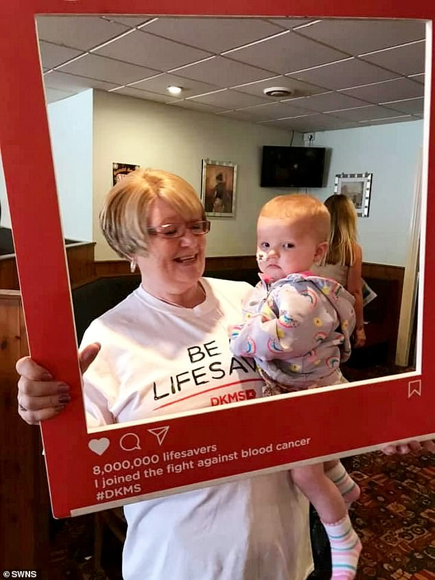 DKMS organises donor recruitment in the UK for around 2,000 people in the UK searching for a blood stem cell donation each year. Pictured, Phoebe at the donor rally
