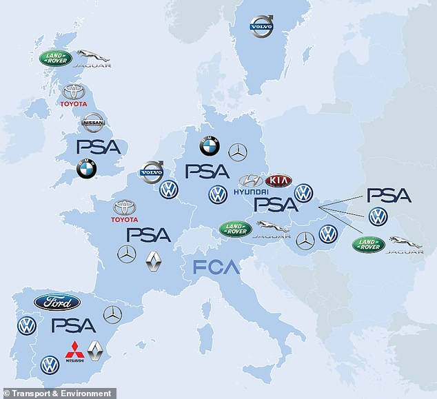 This map shows the production hubs for electric vehicles across Europe by 2025. While the UK has a few dedicated facilities, it is expected to fall behind the outputs of other nations
