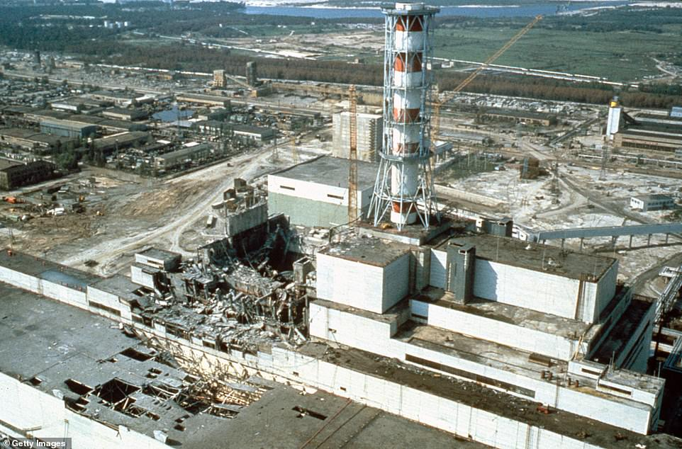 Deconstruction of the original sarcophagus will involve reinforcing sections of it, to help maintain its overall stability, while removing others. Pictured:Chernobyl nuclear power plant a few weeks after the disaster