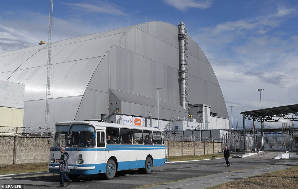 The Ukrainian firm in charge of maintaining the safety of the former power plant has now signed a £64 million ($78m) contract to deal with the problem by 2023. Pictured: The New Safe Confinement facility built to limit the radioactive leak from the plant