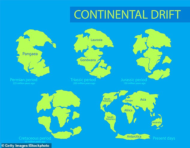 Exactly when the Earth's plates formed and began moving has long been a subject of debate, with estimates ranging from 3.5–5 billion years ago. Pictured, the changing configuration of the continents over time, dating back to 225 million years ago and the supercontinent Pangaea