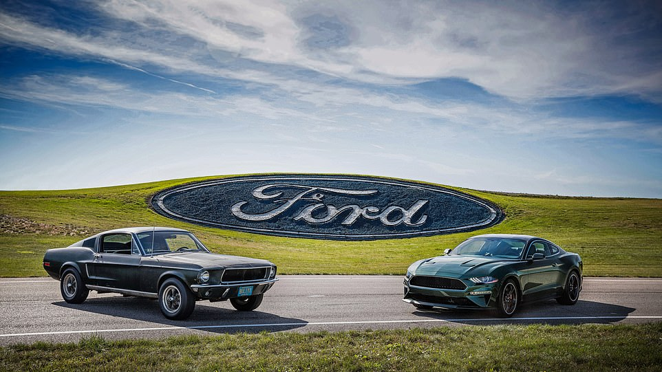 The original car (left) was part of Ford's display to announce the special-edition 'Bullitt' version of the latest Mustang (right), launched to celebrate the flick's 50th anniversary