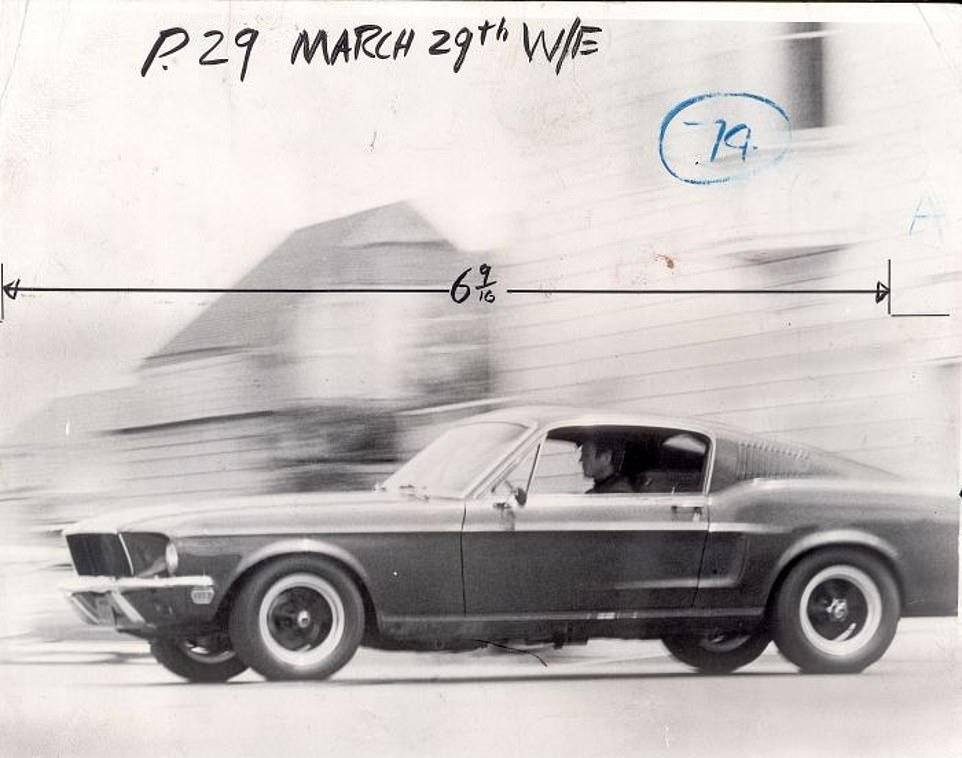 Steve McQueen seen here at the wheel of the Mustang during filming for the action thriller