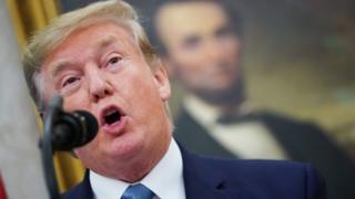US President Donald Trump speaks during the presentation ceremony at White House on Thursday