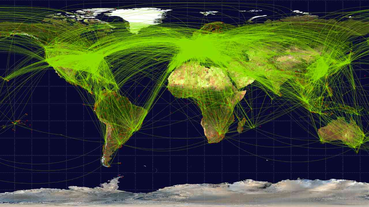 This map plots scheduled flights, more than 50,000 of them, from June 2009. This map plots scheduled flights — more than 50,000 of them — from June 2009. With Aireon flight tracking, powered by a radio developed by Harris Corporation, air traffic control agencies will be able to see in real time the location and heading of every plane in the air.