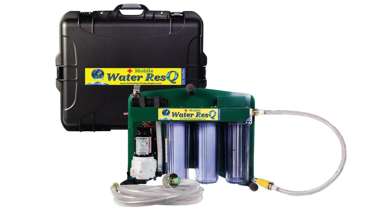 This portable filter from Water Pure Technologies can provide 658 litres of clean drinking water every hour. Image: Water Purification Systems
