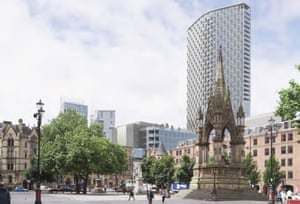 Controversial … CGI showing St Michael's tower, fronted by Gary Neville and Ryan Giggs, and the historic monuments it will loom over.