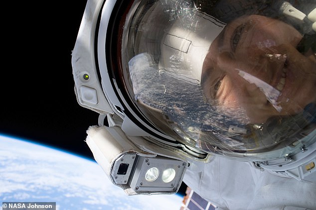 NASA astronauts Christina Koch (pictured) and Jessica Meir have shared a gallery of selfies that are out-of-this-world. The pair snapped 'space-selfies' while changing a failed battery charge-discharge unit on the International Space Station with a spare