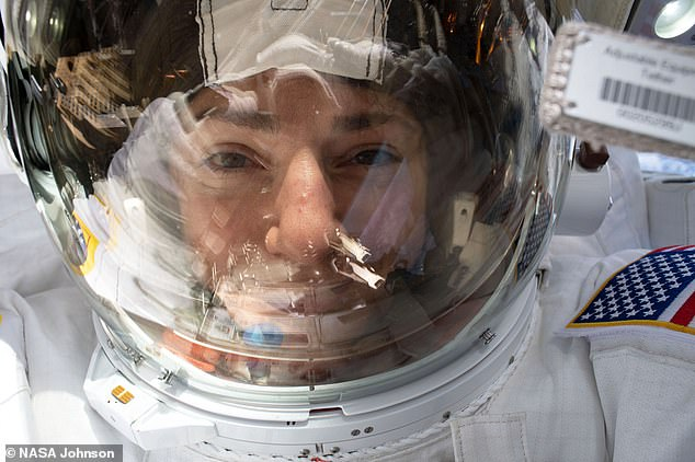 On Friday, October 18th, Koch and Meir (pictured) ventured outside of the International Space Station (ISS) at 07:38am ET (12:38pm BST) to begin the first all-female spacewalk ever. The selfies show the pair fixing parts of the ISS and floating weightless in space