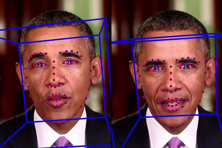 Tracking software analyses a real video of President Obama on the left, and a 'lip-sync' deepfake on the right. Source: UC Berkeley/ Stephen McNally