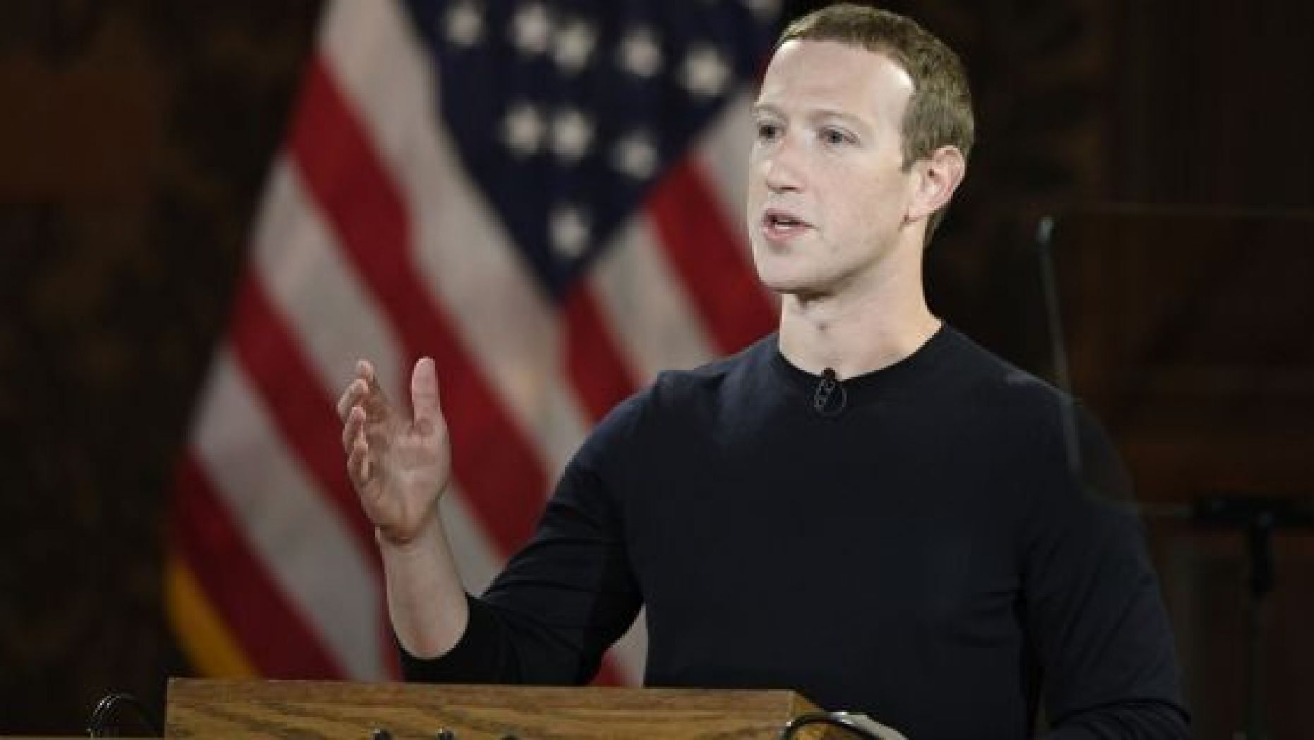 FILE - In this Oct. 17, 2019, file photo Facebook CEO Mark Zuckerberg speaks at Georgetown University in Washington. With just over a year left until the 2020 U.S. presidential election, Facebook is stepping up its efforts to ensure it is not used as a tool to interfere in politics and democracies around the world. Facebook said Monday, Oct. 21, that it will also label state-controlled media as such, label fact -checks more clearly and invest $2 million in media literacy projects. (AP Photo/Nick Wass, File)