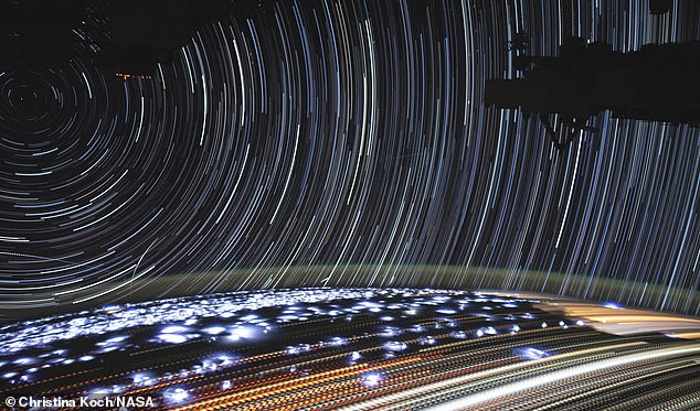 Taken as the International Space Station passed over Namibia towards the red sea. The star trails in the image centred around a point in the left hand corner as this was the point perpendicular to the ISS orbital plane