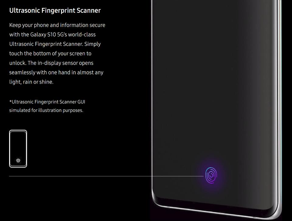Samsung Galaxy S10 fingerprint reader