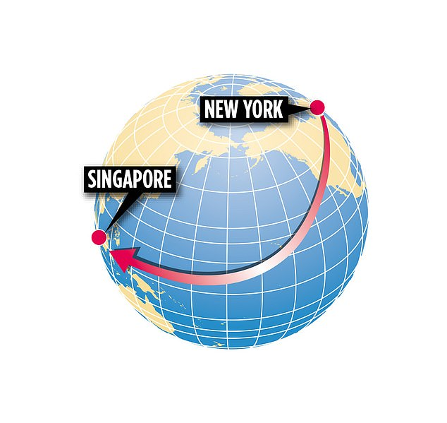 The journey begins in New York, crosses the American continent before flying over the Pacific Ocean and landing in Singapore almost 19 hours later