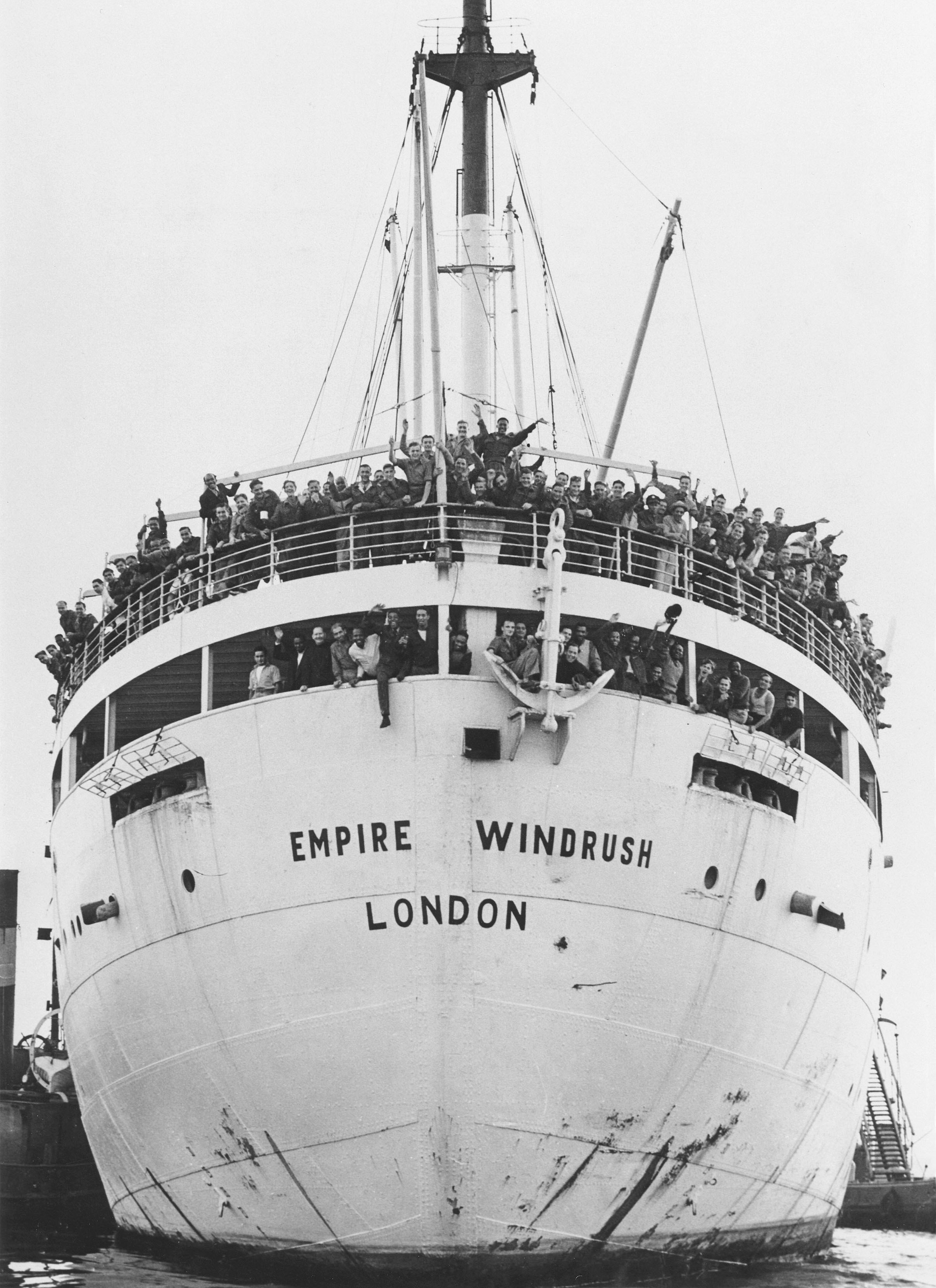One of the first Windrush ships arriving from Jamaica in 1948