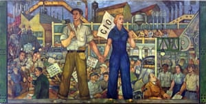 Mob rule … Walter Speck's mural commemorates the Battle of the Overpass.