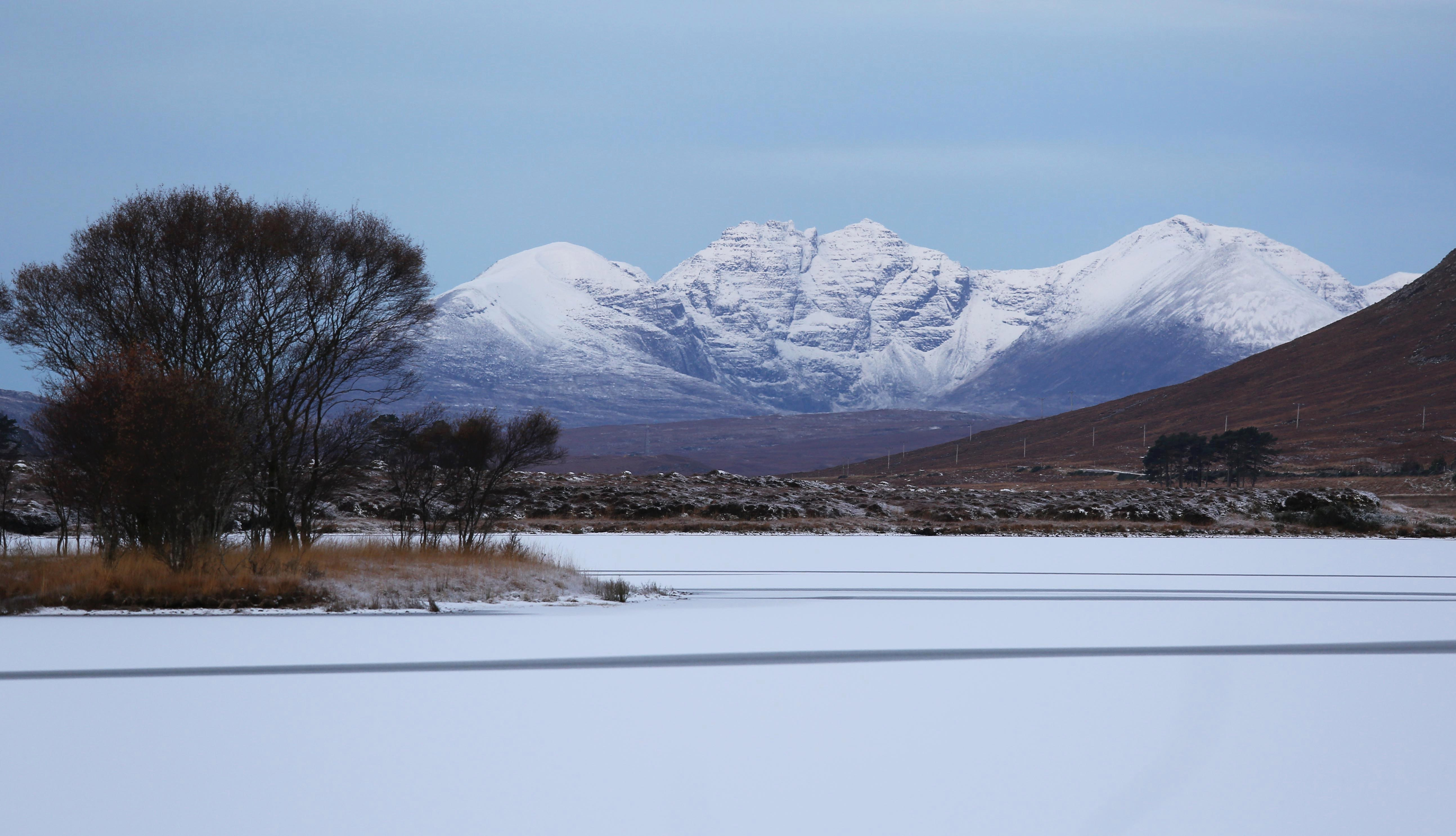 Loch Droma which was frozen over this morning as temperatures in the Highlands fell to -10C last night