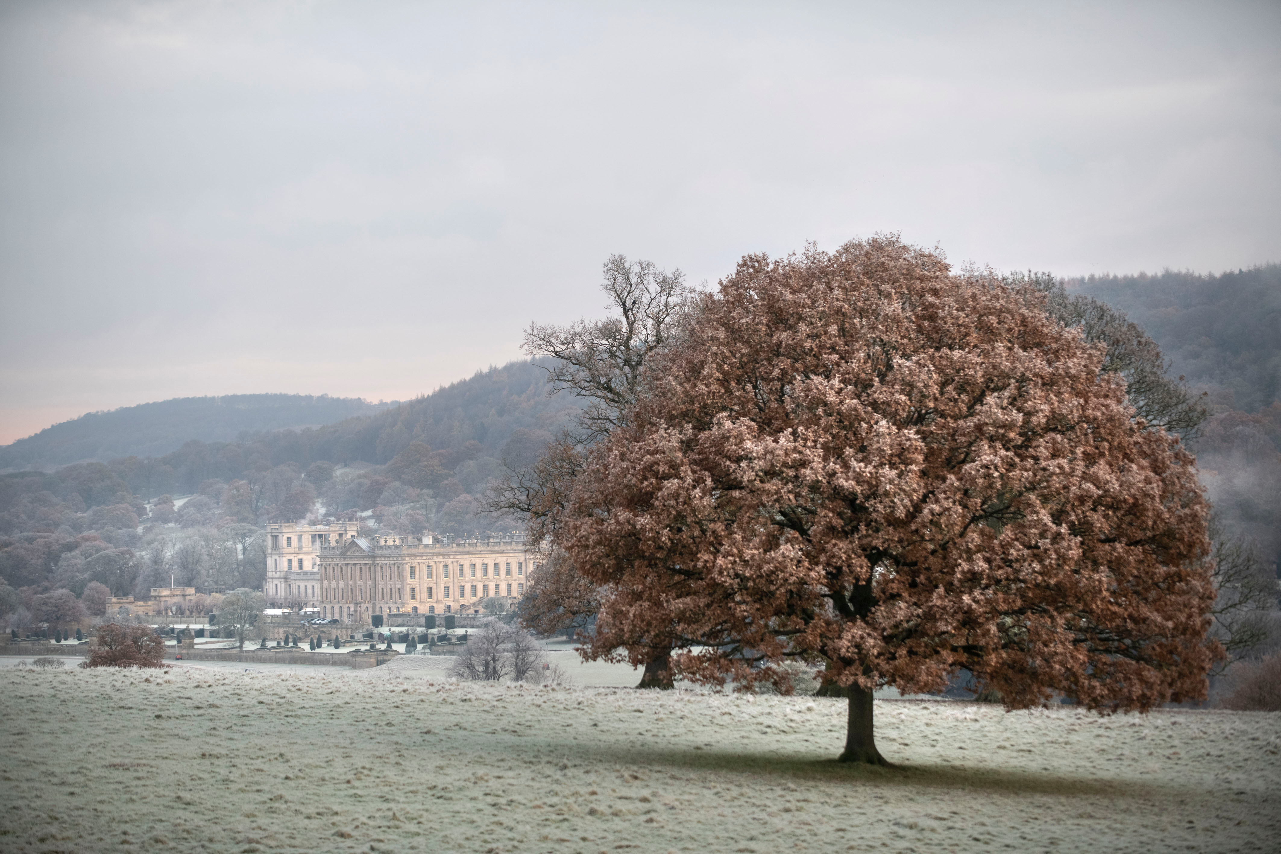 Frost covered Chatsworth on a cold start in Derbyshire today