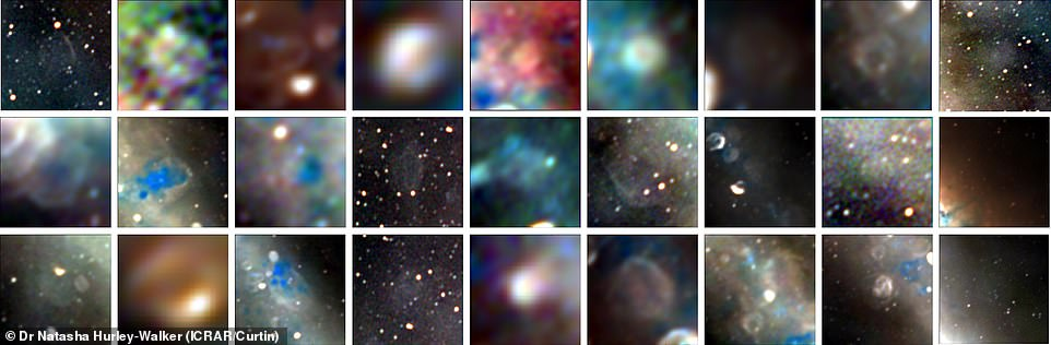 These are the 27 newly-discovered supernova remnants of stars that ended their lives in huge stellar explosions thousands to hundreds of thousands of years ago