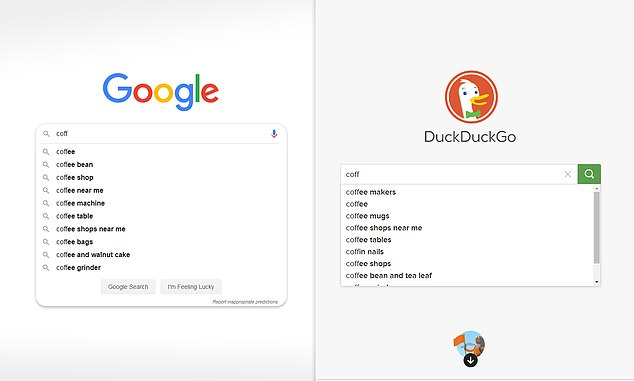 The WSJ compared Duckduckgo (right) and Google (left) autocomplete results in Joe Biden and other terms. They found when researching for Joe Biden 'creepy' was suggested every time by the former but never by Google