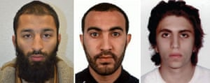 The three attackers (L-R): Khuram Butt, Rachid Redouane and Youssef Zaghba.