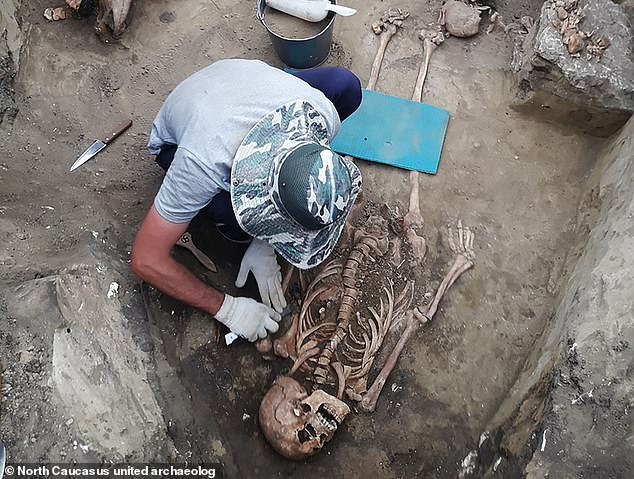 The ancient woman is probably from the Alans warrior people who made incursions into the Caucasus in the first and second centuries AD. Archaeologists say she was buried alongside a warrior and two other men