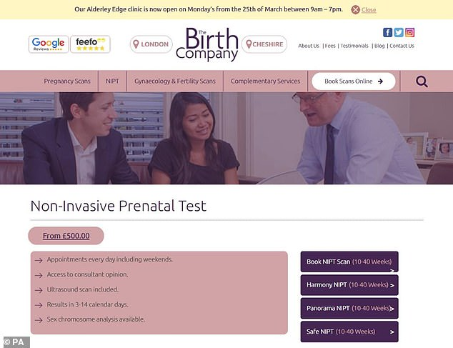 An undated handout image issued by the Advertising Standards Authority shows an advert for prenatal testing services by The Birth Company, which has been banned for using misleading statistics about its accuracy