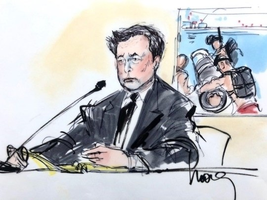 """Los Angeles, CA - Tesla and SpaceX CEO Elon Musk is seen in court sketches as he appears in Los Angeles Federal court on the second day of his ???pedo guy??? trial. Musk was sued after he allegedly defamed a British spelunker, Vernon Unsworth, who is best known for his efforts to rescue 12 boys and their soccer coach from flooded caves in Thailand in the summer of 2018. Unsworth is accusing Musk of calling him a ???pedo guy??? in public tweets, and ???child rapist??? in an email to a reporter. Musk had tried to send a mini submarine to help the rescue effort at the time, a move that Unsworth viewed as a """"PR stunt.'' Pictured: Elon Musk Court Sketch BACKGRID USA 4 DECEMBER 2019 BYLINE MUST READ: Mona Shafer Edwards / BACKGRID USA: +1 310 798 9111 / usasales@backgrid.com UK: +44 208 344 2007 / uksales@backgrid.com *UK Clients - Pictures Containing Children Please Pixelate Face Prior To Publication*"""