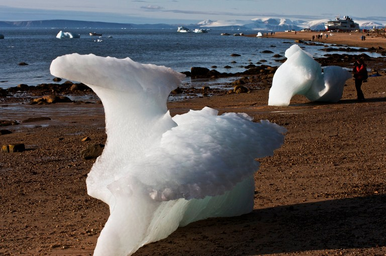 DENMARK - MAY 05: Beached iceberg near Siorapaluk on the Nares Strait, Greenland, Denmark. (Photo by DeAgostini/Getty Images)